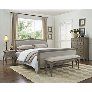 Grey Moden Sleigh Queen Bedroom Set Made from All Solid Mahogany Wood, Includes Bed, 2 Side End Tables, Bench and Dressor