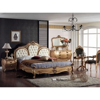 Gold White French Queen Bedroom Set Made from All Solid Mahogany Wood, Includes Bed, 2 Side End Tables, Dressor and Mirror