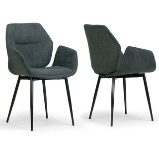 Set of 2 Amari Grey Velvety Fabric Dining Chair with Black Metal Legs