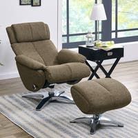 ProLounger Sten Brown Chenille Contemporary Swivel Recliner Chair and Ottoman