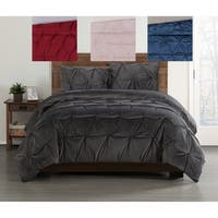 Truly Soft Pleated Velvet 3 Piece Duvet Cover Set