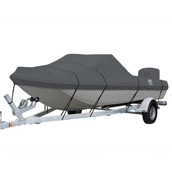 StormPro Heavy Duty Tri-Hull Outboard Cover with Support Pole. Opens flyout.