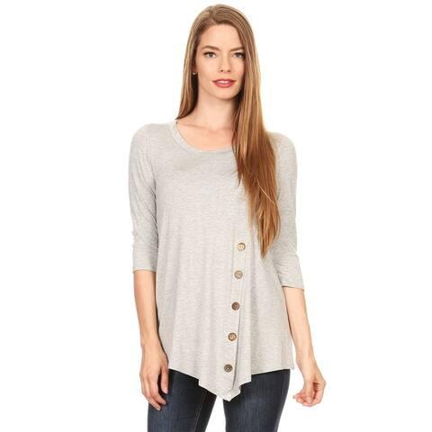 Women's Casual Lightweight Solid Knit Button Trim Top