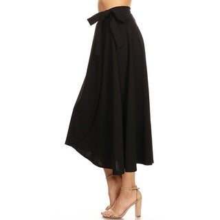 Women's Solid Basic Faux Wrap Casual Skirt
