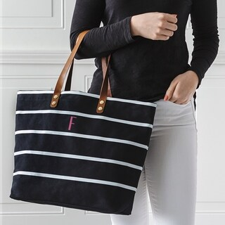 Personalized Black Large Striped Tote