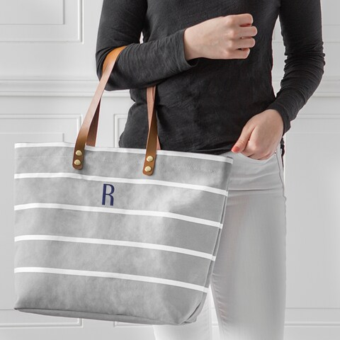 Personalized Grey Large Striped Tote Bag