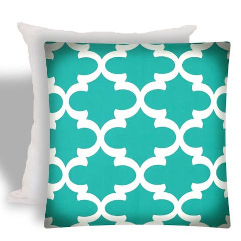 Joita FLANNIGAN Turquoise Indoor/Outdoor - Zippered Pillow Cover with Insert