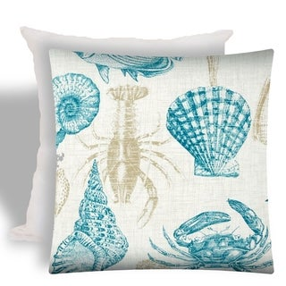 Joita UNDER THE SEA Teal Indoor/Outdoor - Zippered Pillow Cover with Insert