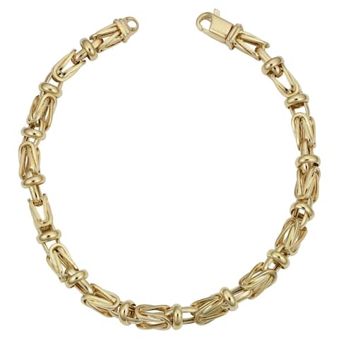 Men's 14k Yellow Gold 5 millimeters Square Byzantine Bracelet (8.75 inches)