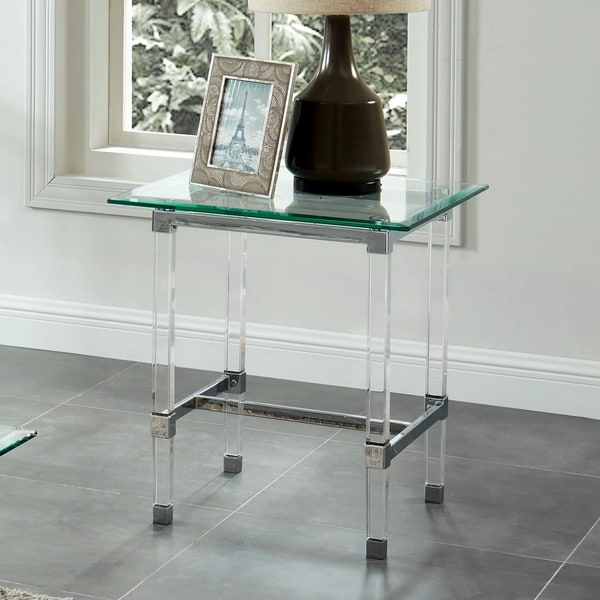 Furniture of America Hile Contemporary Chrome Glass Top End Table
