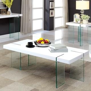 Furniture of America Rinn Modern White Glass Coffee Table