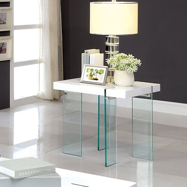 Furniture of America Rinn Modern White Glass End Table