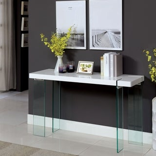 Furniture of America Rinn Modern White Glass Console Table