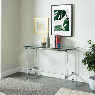 Furniture of America Hile Contemporary Chrome Glass Top Console Table