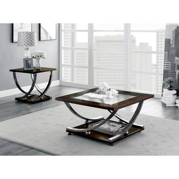 Furniture Of America Look Contemporary Cherry Metal End Table Overstock 23136324