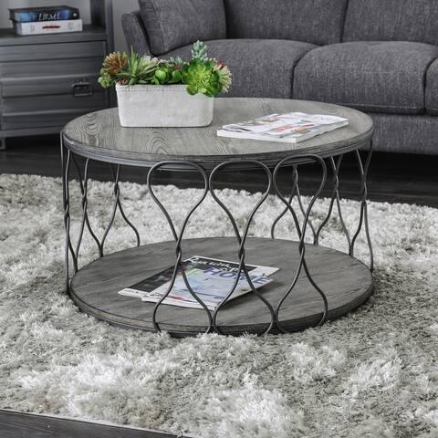 Furniture of America Lizi Rustic Grey Metal Round Coffee Table