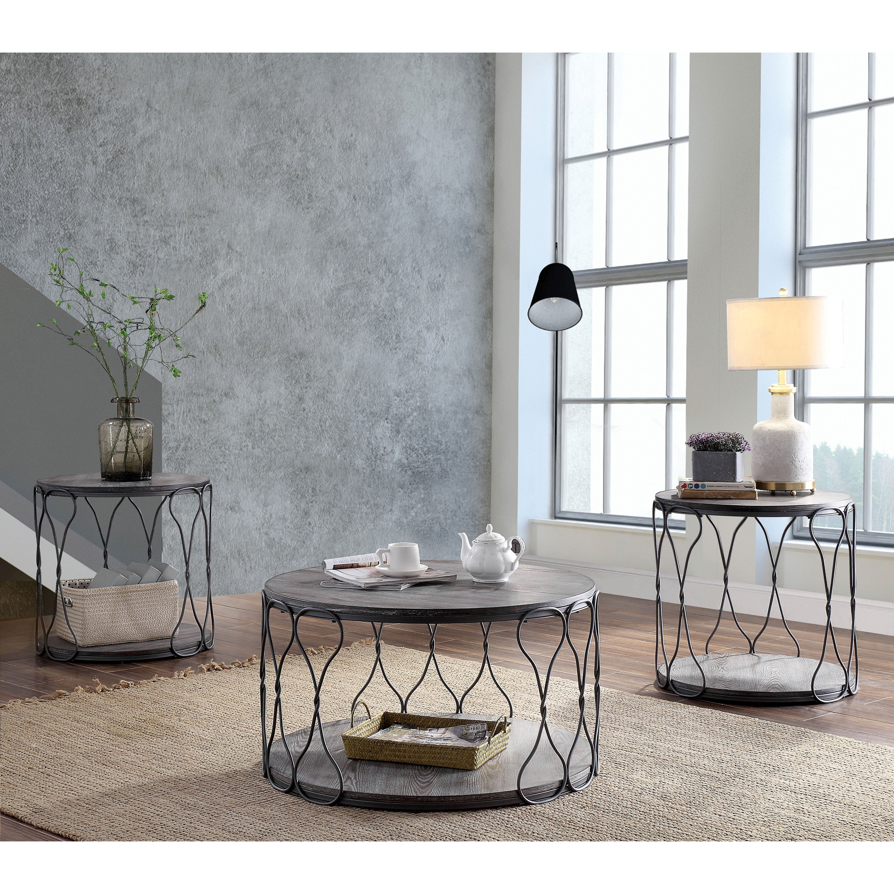 Picture of: Furniture Of America Lizi Rustic Grey Metal Round Coffee Table On Sale Overstock 23136326