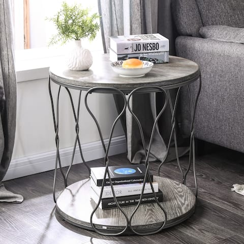 Furniture of America Lizi Rustic Grey Metal Round End Table