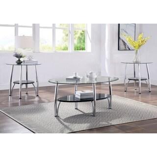 Furniture of America Land Modern Black Metal 3-piece Accent Table Set