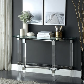 Silver Orchid Andriot Glass/Chrome Console Table