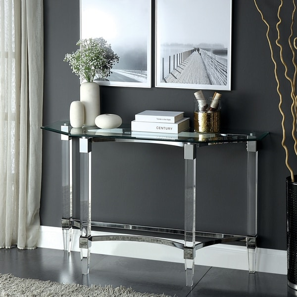 Sofa Tables On Sale: Shop Silver Orchid Andriot Glass/Chrome Console Table