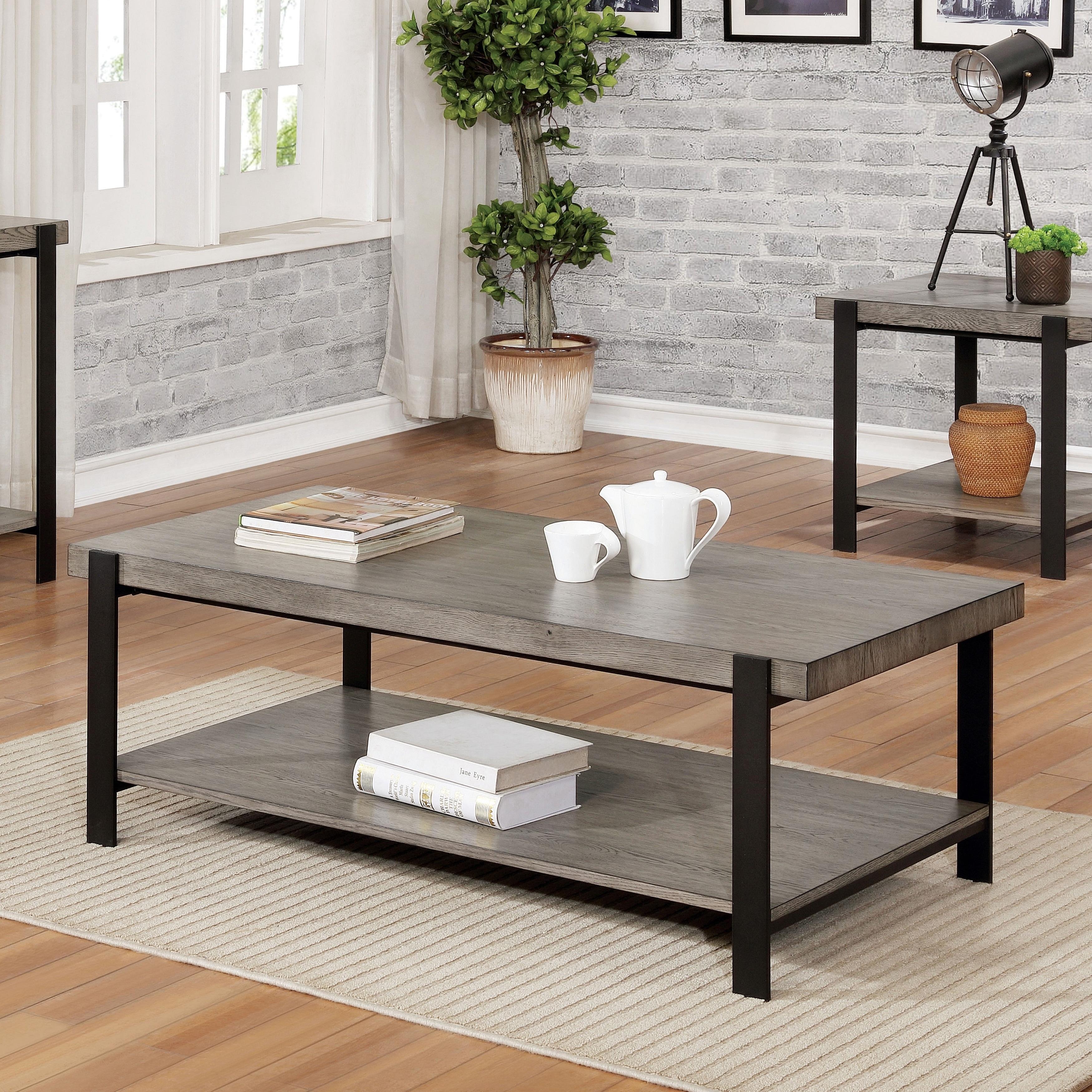 Carbon Loft Shelton Contemporary Grey Wash Coffee Table