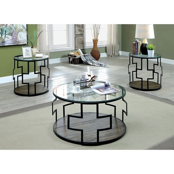 shop furniture of america goya 3 piece boho rustic reclaimed look glass coffee table set on. Black Bedroom Furniture Sets. Home Design Ideas