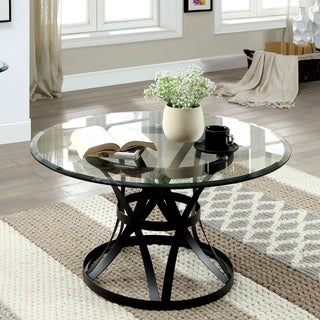 Copper Grove Chirokitia Black Metal and Glass Coffee Table