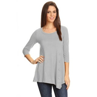 Women's Casual Lightweight Solid Knit Button Trim Top