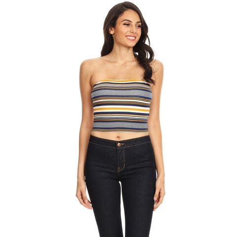 Women's Basic Strapless Multicolor Striped Cropped Tube Top