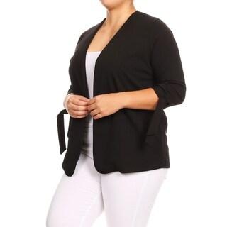 Women's Solid Basic Plus Size Cardigan Sweater