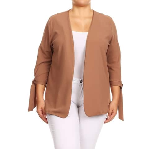 Women's Solid Basic Plus Size Cardigan Sweater