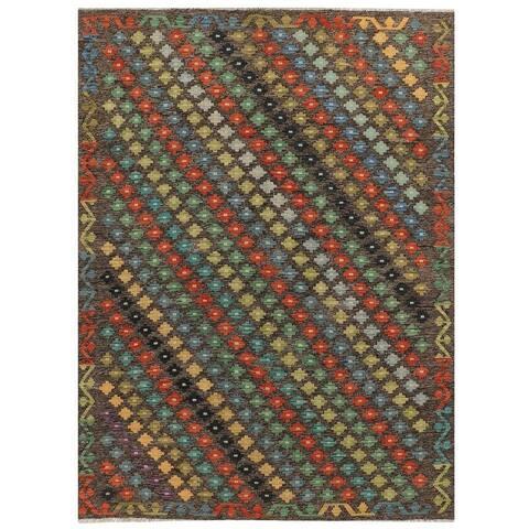 Handmade One-of-a-Kind Vegetable Dye Kilim Wool Rug (Afghanistan) - 5'7 x 7'8