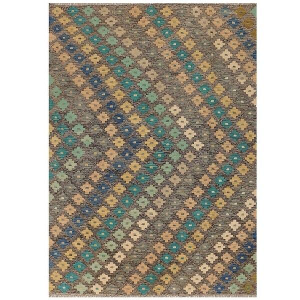 Handmade Vegetable Dye Kilim Wool Rug (Afghanistan) - 6' x 8'
