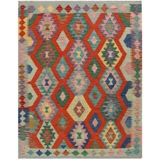 Handmade Vegetable Dye Kilim Wool Rug (Afghanistan) - 5' x 6'3