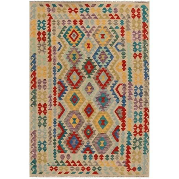 Handmade Vegetable Dye Kilim Wool Rug (Afghanistan) - 5'7 x 8'1