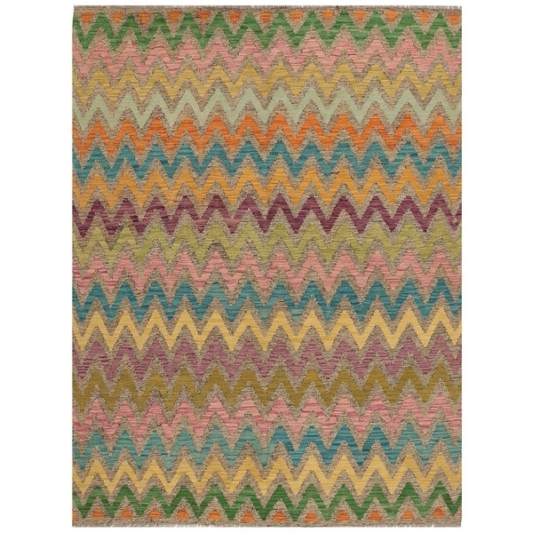 Handmade Vegetable Dye Kilim Wool Rug (Afghanistan) - 5'10 x 7'5