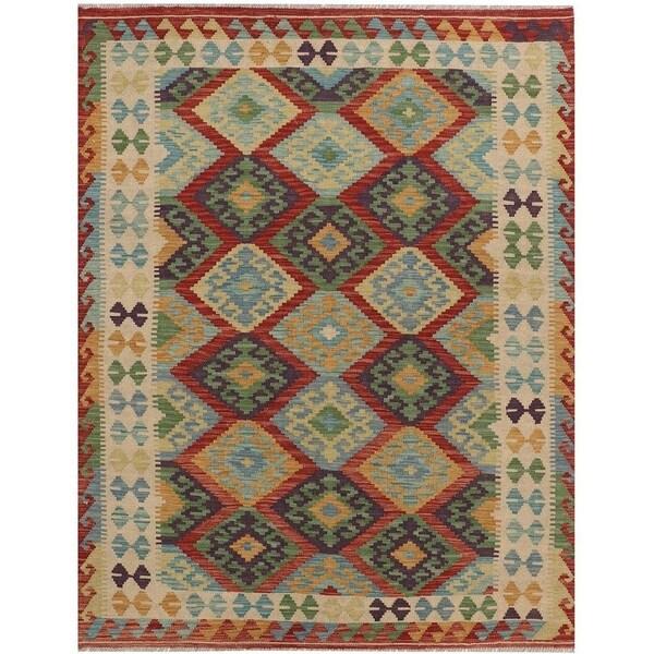 Handmade Vegetable Dye Kilim Wool Rug (Afghanistan) - 5' x 6'7