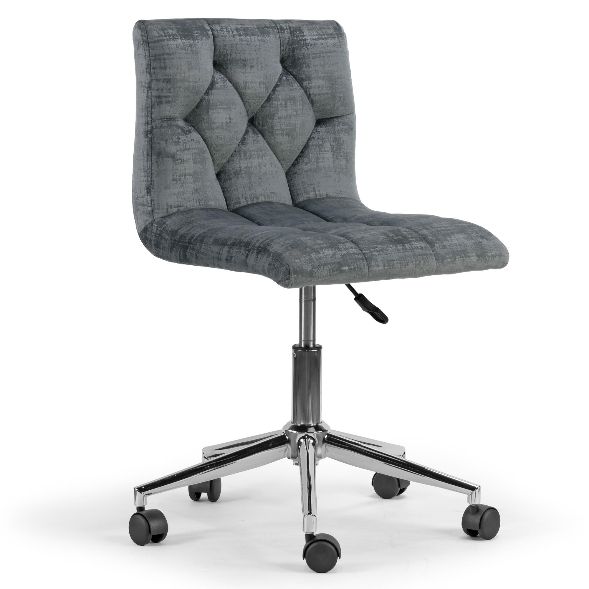 Awe Inspiring Amali Grey Velvet Adjustable Height Swivel Office Chair W Wheel Base Forskolin Free Trial Chair Design Images Forskolin Free Trialorg