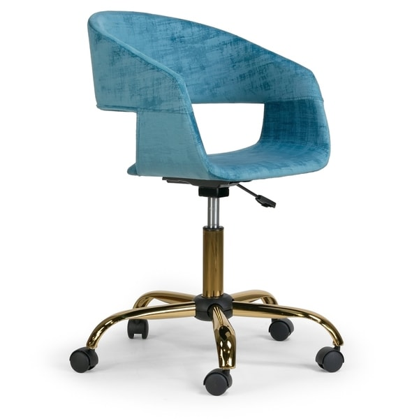 Amani Blue Velvet Office Chair