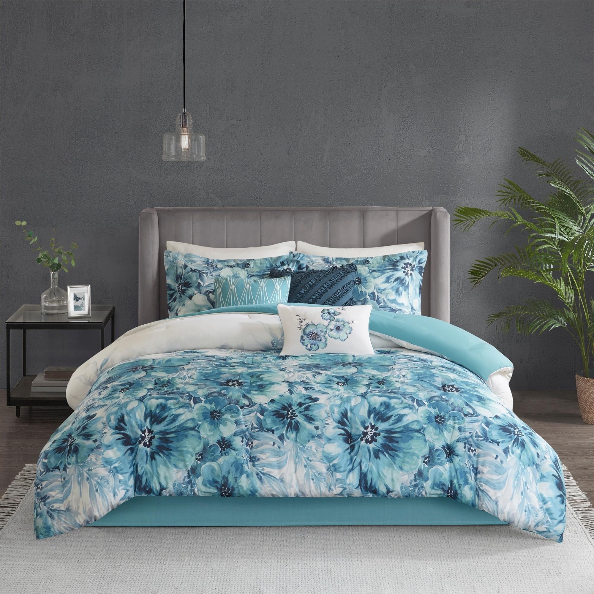 Shop Madison Park Adella Teal 7 Piece Cotton Printed Comforter Set