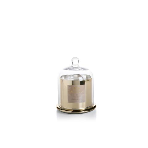 """7"""" Tall Large Candle in Glass Jar with Bell Cloche, Siberian Fir Fragrance, Gold"""