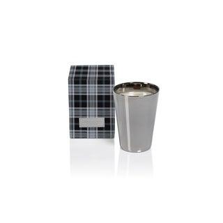 "6.25"" Tall Large Silver Metallic Glass Candle Jar in Gift Box, Siberian Fir Fragrance"