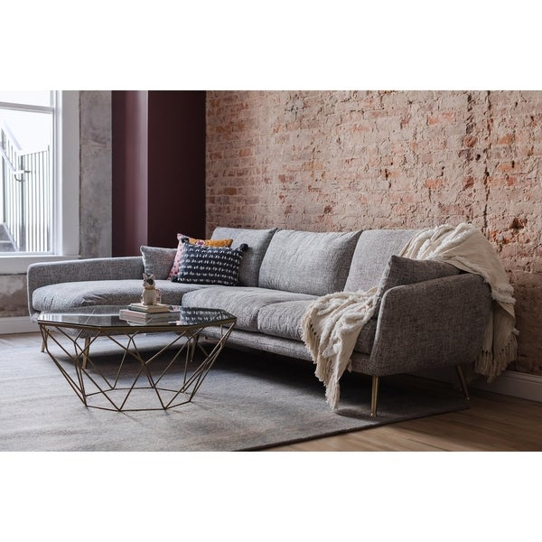 Hayley Grey Upholstered Mid Century Modern Sectional Sofa