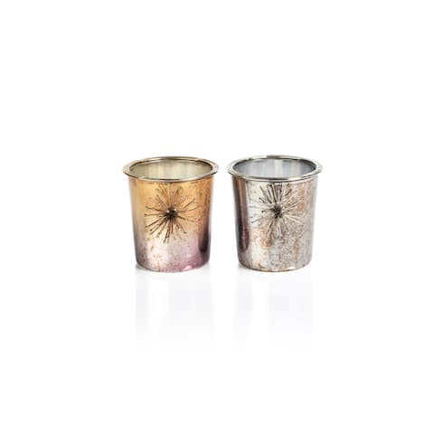 """2.75"""" Tall Starburst Glass Tealight Holder, Gold and Silver (Set of 4)"""