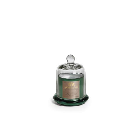 "4.5"" Tall Small Candle in Glass Jar with Bell Cloche, Siberian Fir Fragrance, Green (Set of 2)"