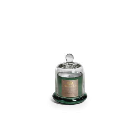"""4.5"""" Tall Small Candle in Glass Jar with Bell Cloche, Siberian Fir Fragrance, Green (Set of 2)"""