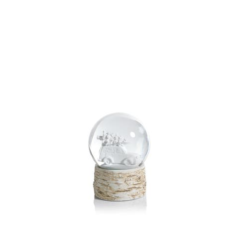 """5"""" Tall Snow Globe, Tree on Vintage Car Sculpture, White and Beige (Set of 2)"""