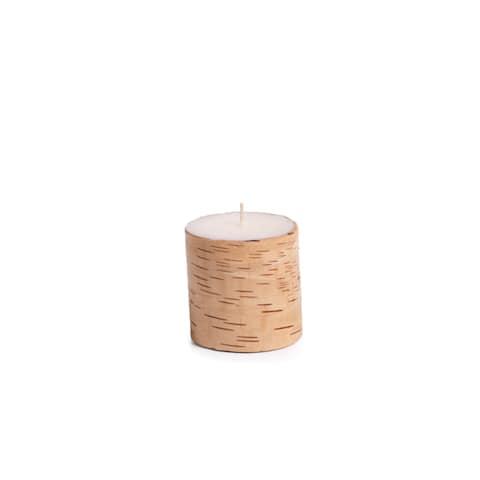 "4"" Tall ""Birchwood"" Scented Pillar Candle, Siberian Fir & Golden Acorns Fragrance, (Set of 4)"