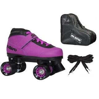 Epic Nitro Turbo Purple Indoor/Outdoor Quad Roller Speed Skates Bundle